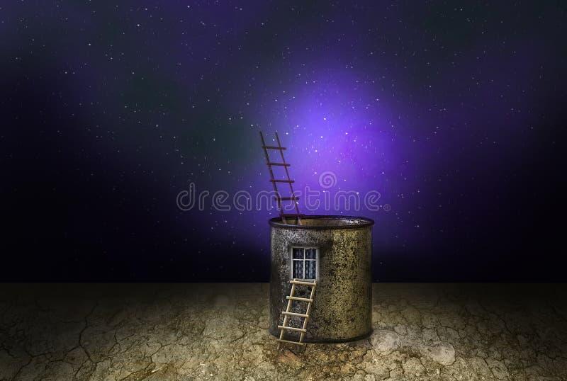 Kosmische Landschaft des mysteriösen Fantasiehauses stock abbildung