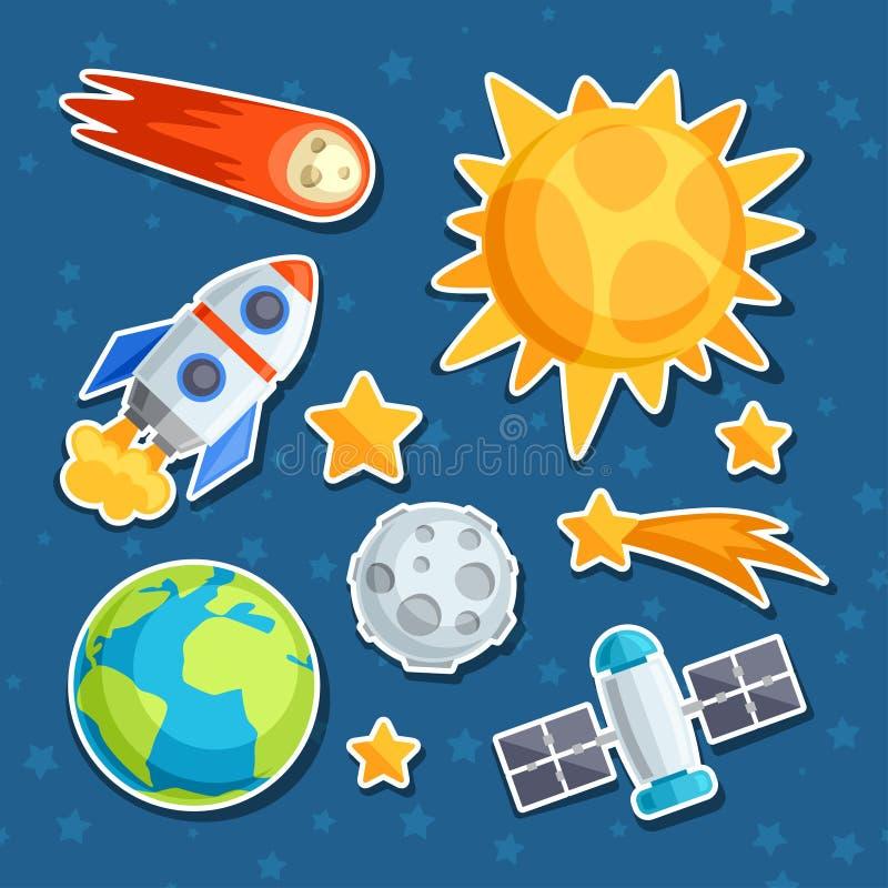 Kosmische pictogramreeks van zonnestelsel, planeten en vector illustratie