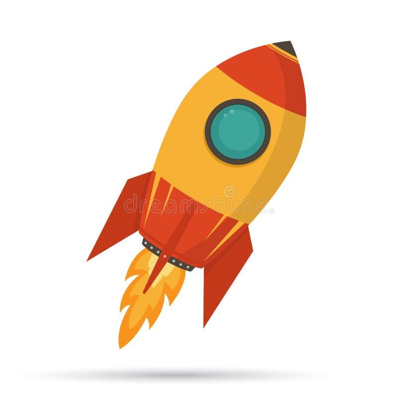 kosmische rakete im flachen design auf wei em hintergrund vektor abbildung illustration von. Black Bedroom Furniture Sets. Home Design Ideas