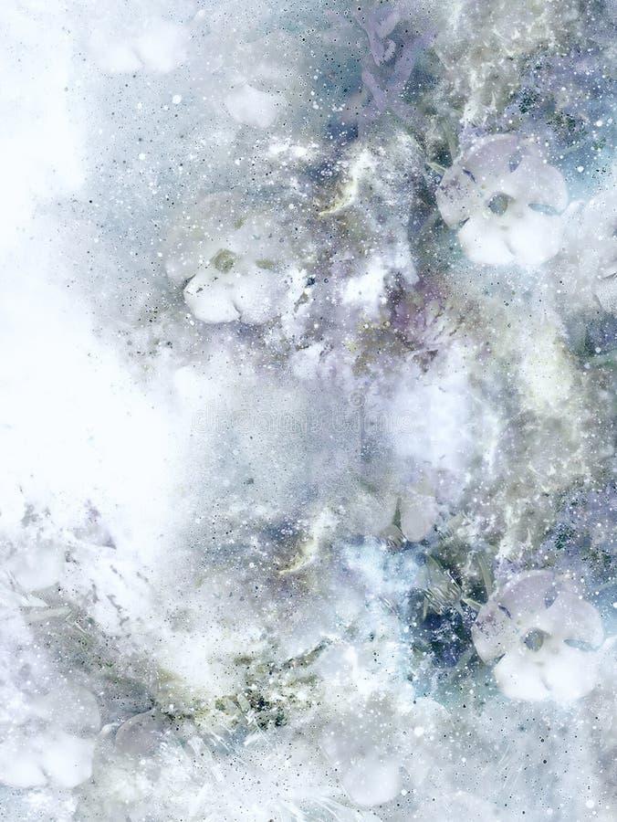 Kosmische ruimte met bloem, de achtergrond van de kleurenmelkweg, computercollage stock illustratie