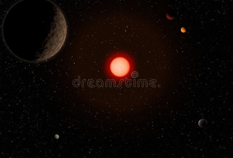 Kosmische ruimte met planeet en grote rode ster royalty-vrije illustratie