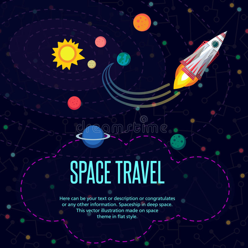 Kosmische ruimte Patroontextuur in vlakke stijl royalty-vrije illustratie