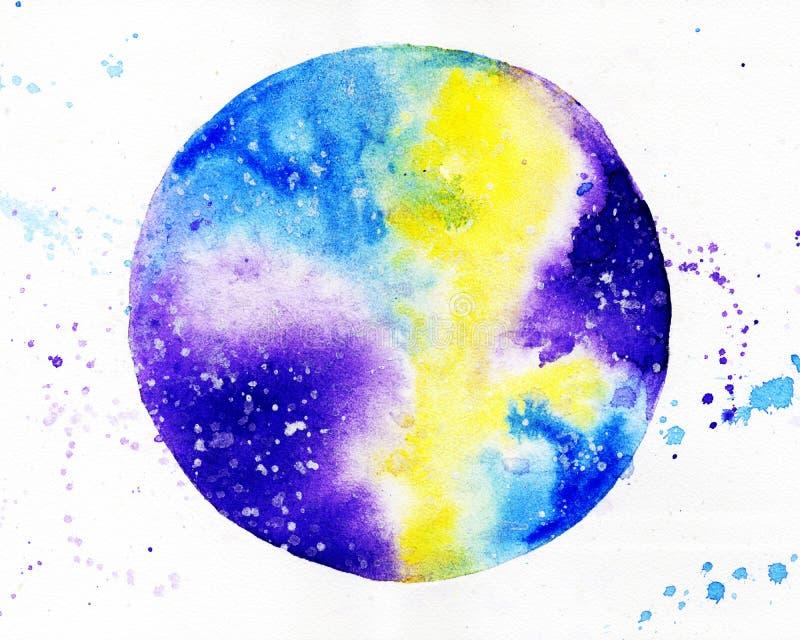 Kosmische ruimte watercolor royalty-vrije stock fotografie