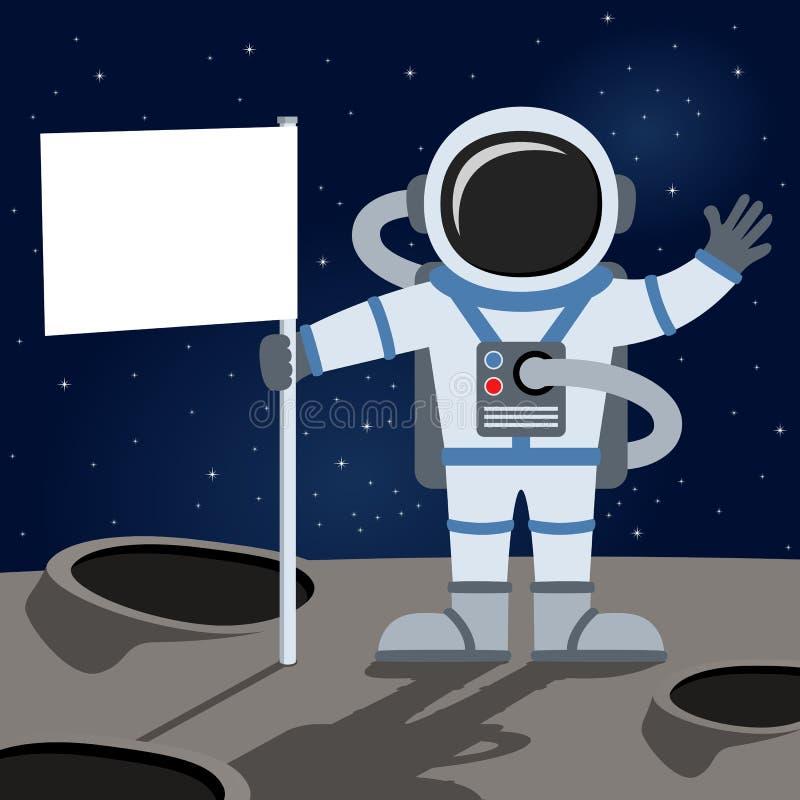 Kosmische ruimteastronaut Holding Flag vector illustratie