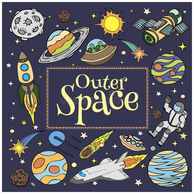 Kosmische ruimtekrabbels, symbolen en ontwerpelementen vector illustratie