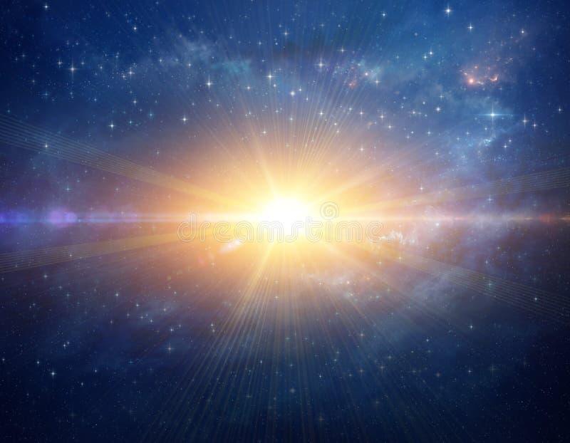 Kosmische Sternexplosion im Weltraum lizenzfreie abbildung