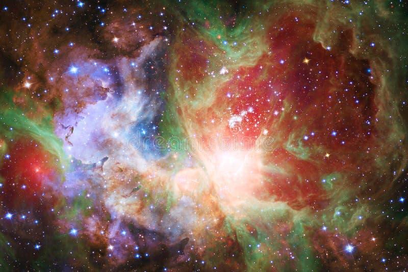 Kosmischer Galaxiehintergrund mit Nebelflecken, stardust und hellen Sternen lizenzfreie abbildung