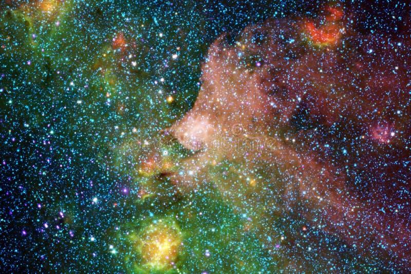 Kosmischer Galaxiehintergrund mit Nebelflecken, stardust und hellen Sternen vektor abbildung
