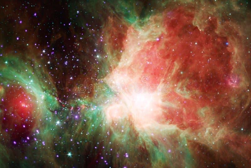 Kosmischer Galaxiehintergrund mit Nebelflecken, stardust und hellen Sternen stock abbildung