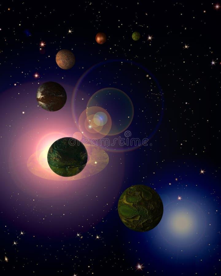 Kosmischer Himmel mit Planeten stock abbildung