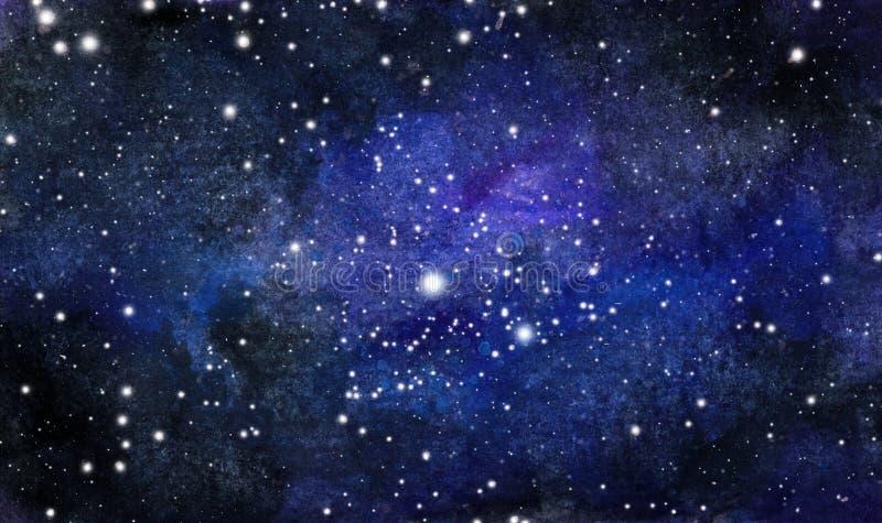 Kosmischer Hintergrund Bunte Aquarellgalaxie oder -nächtlicher Himmel mit Sternen stock abbildung