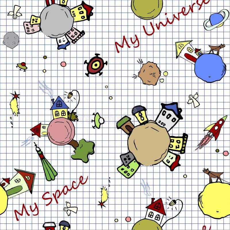 Kosmischer nahtloser Hintergrund stilisierte unter Illustration auf Schulnotizbuchseite Feenhafter Raum lizenzfreie abbildung