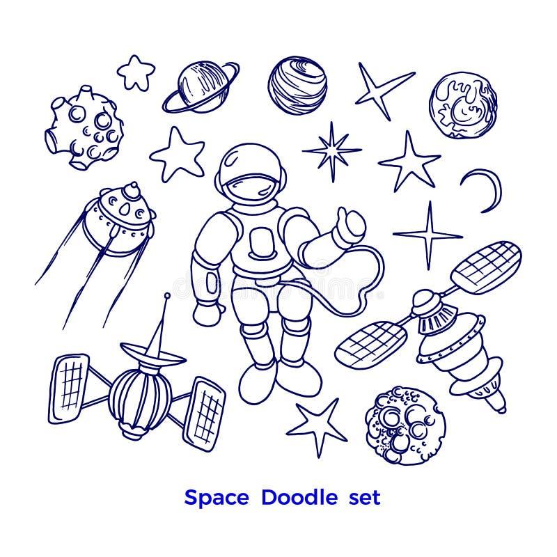 Kosmischer Satz des Vektors Grafische Sammlung des Planeten, Rakete, Stern lizenzfreie abbildung