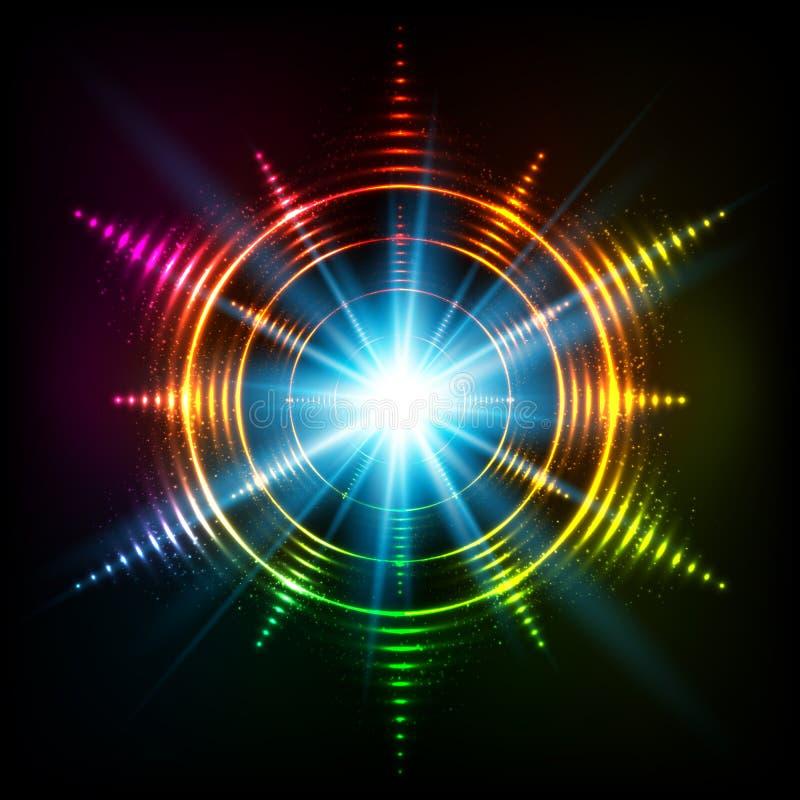 Kosmischer Stern des abstrakten Regenbogenneonspiralen-Vektors stock abbildung