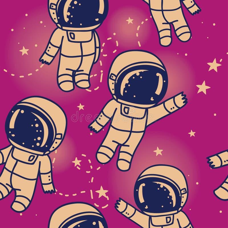 Kosmisches nahtloses Muster, nette Gekritzelastronauten, die in Raum schwimmen lizenzfreie abbildung