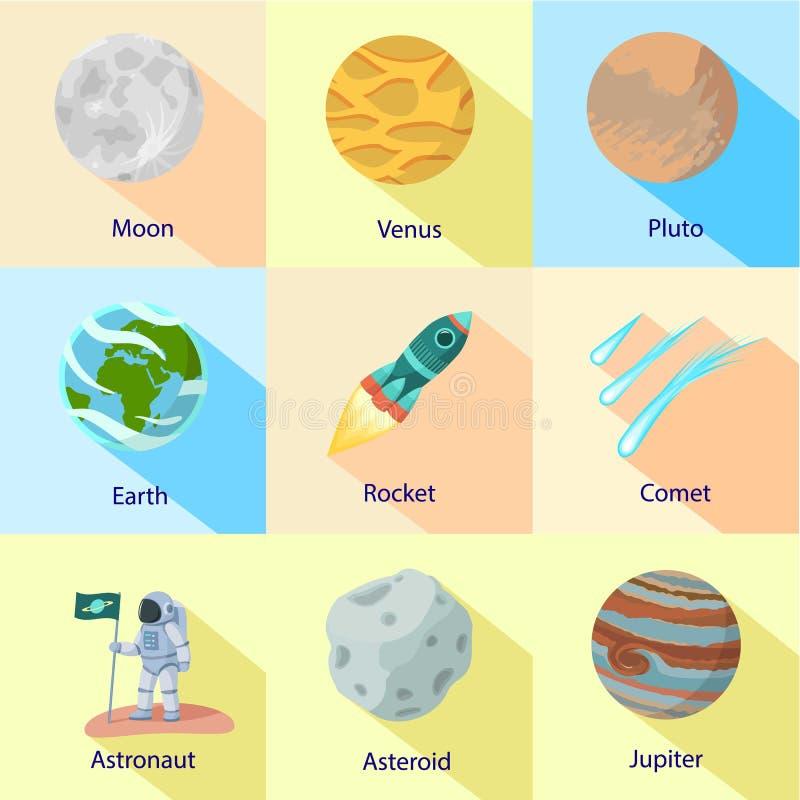 Kosmisk expeditionsymbolsuppsättning, plan stil vektor illustrationer