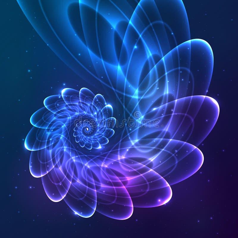 Kosmisk spiral för blå abstrakt vektorfractal vektor illustrationer