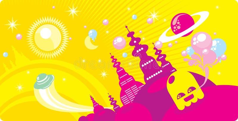 kosmisk town royaltyfri illustrationer