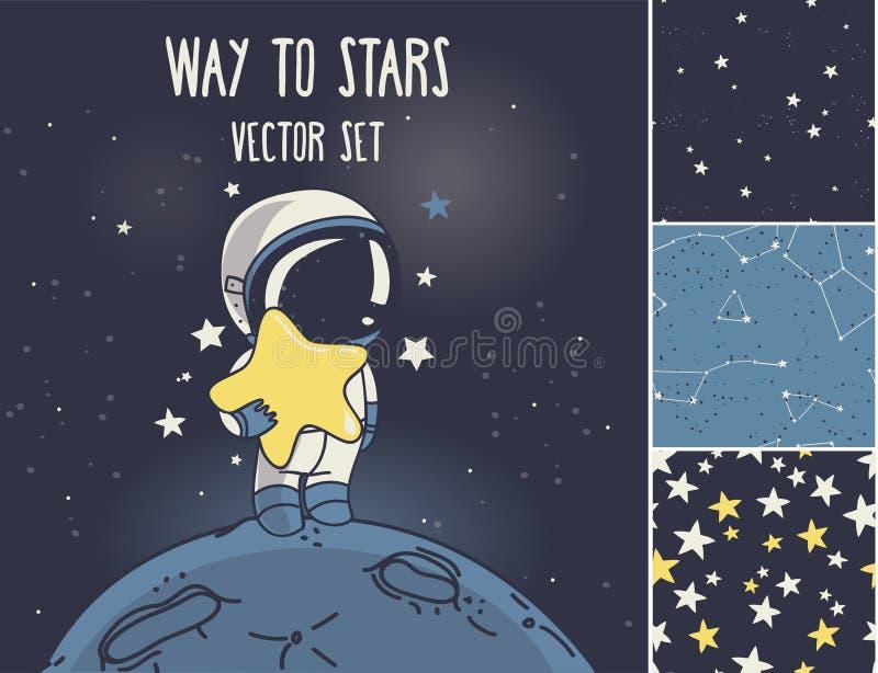 Kosmisk uppsättning: astronaut, raket och stjärnklara sömlösa bakgrunder vektor illustrationer