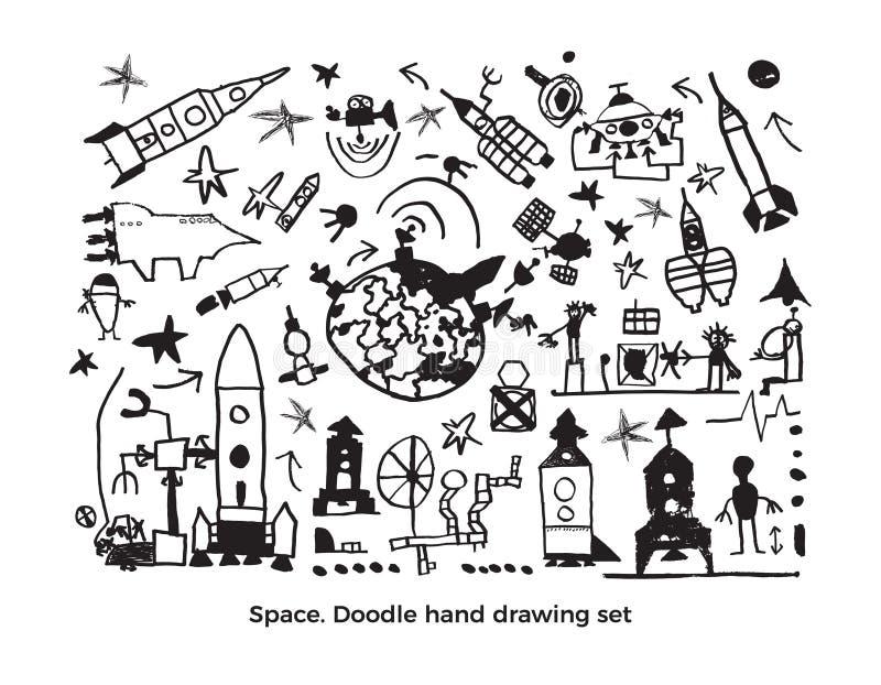 Kosmisk uppsättning för vektor Gulligt behandla som ett barn skissar stock illustrationer