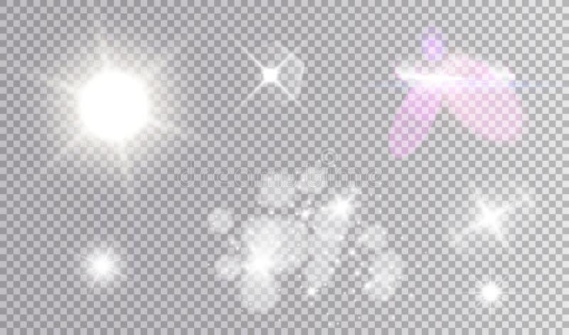 Kosmisk vit uppsättning för ljusa effekter vektor illustrationer