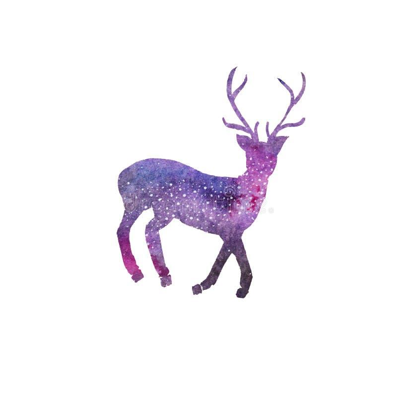 Kosmiska hjortar Vattenfärggalaxhjortar på viten stock illustrationer
