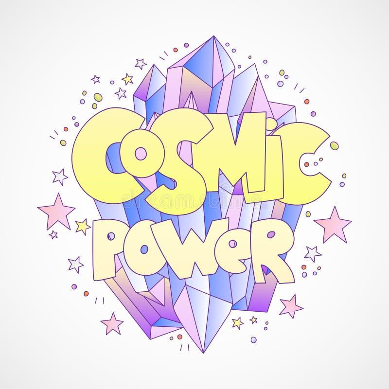 Kosmiskt begrepp för maktvektortecknad film med den ljusa tecknad filmkristallen och ord om kosmisk, utrymmemakt, med stjärnor oc stock illustrationer
