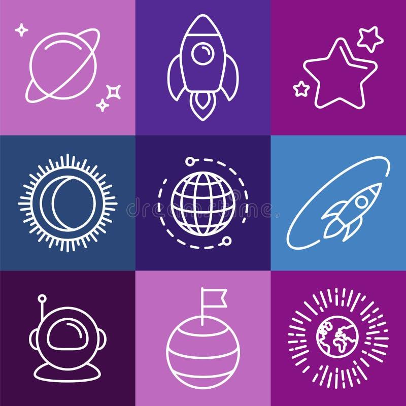 Kosmiskt tecken och linje symboler för vektor stock illustrationer