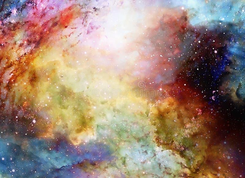 Kosmiskt utrymme och stjärnor, färgar kosmisk abstrakt bakgrund stock illustrationer