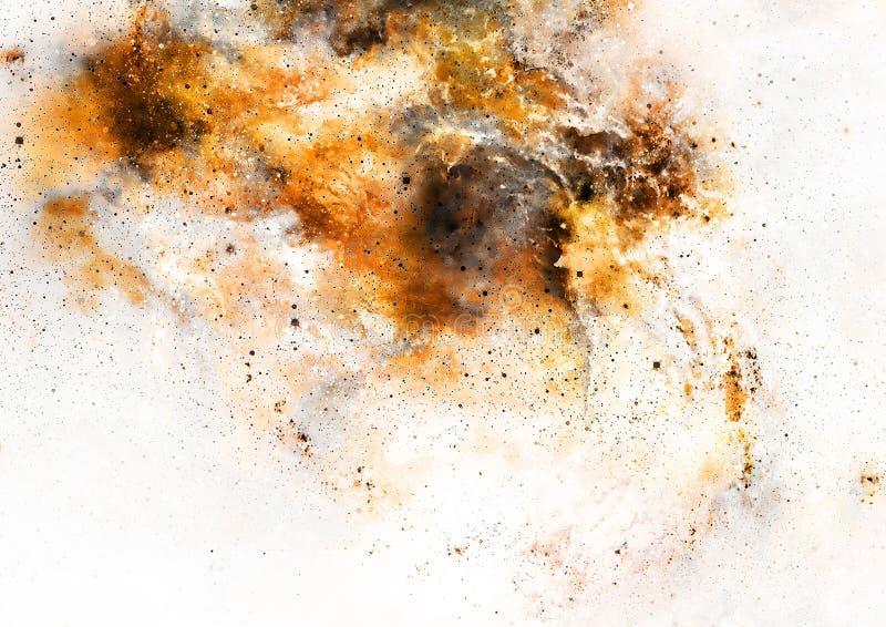 Kosmiskt utrymme och stjärnor, färgar kosmisk abstrakt bakgrund Brand- och sepiaeffekt i utrymme royaltyfri illustrationer
