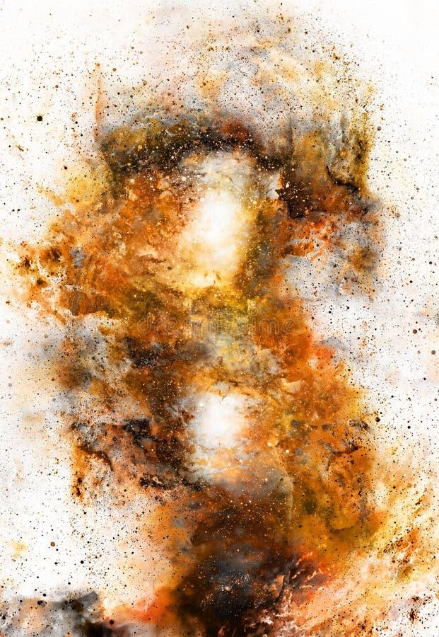 Kosmiskt utrymme och stjärnor, färgar kosmisk abstrakt bakgrund Brandeffekt i utrymme royaltyfri illustrationer