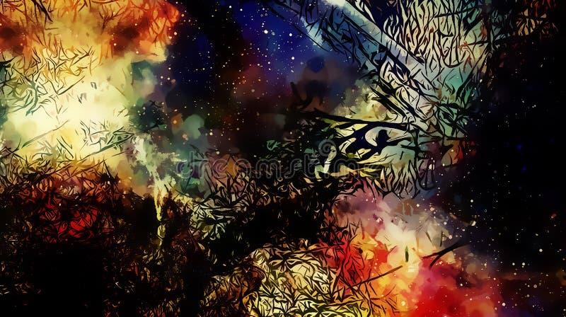 Kosmiskt utrymme och stjärnor, färgar kosmisk abstrakt bakgrund och svartFractalstrukturen vektor illustrationer