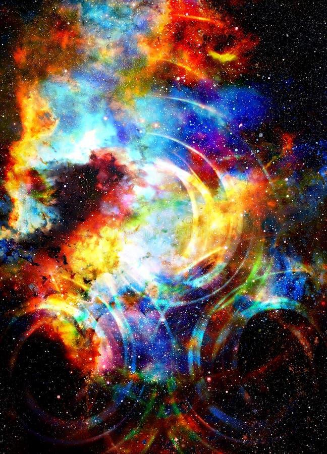 Kosmiskt utrymme och stjärnor med den ljusa cirkeln royaltyfria foton