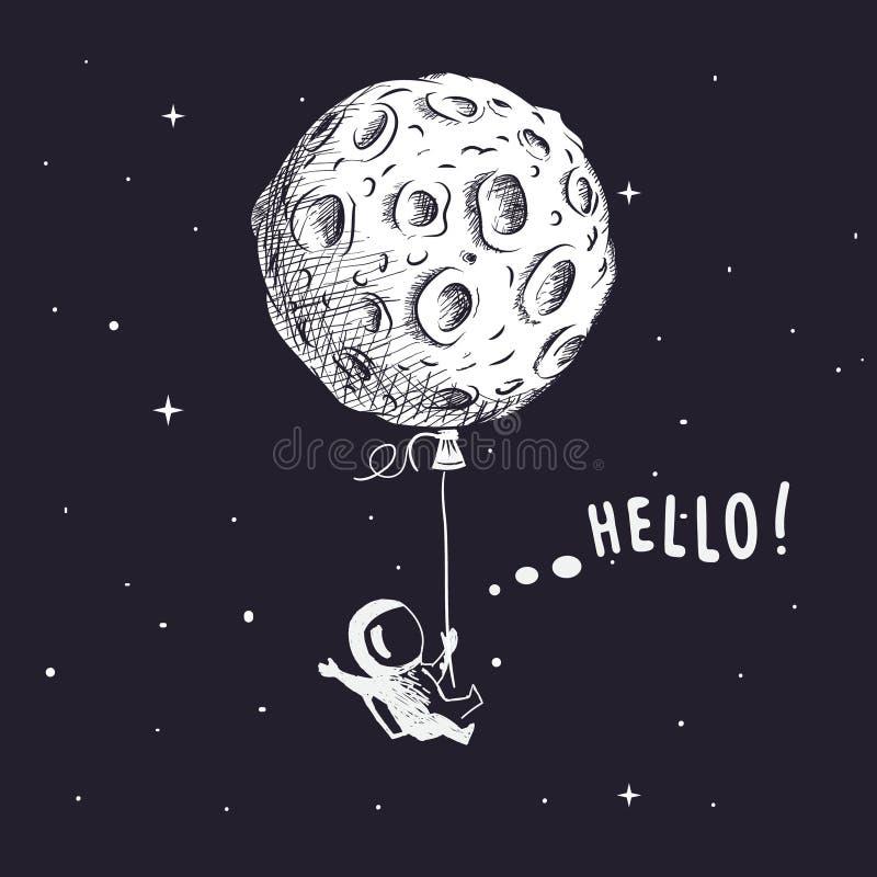 Kosmita z księżyc jak balon royalty ilustracja