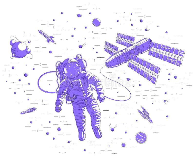 Kosmity latanie w otwartej przestrzeni łączącej stacja kosmiczna, astronauty mężczyzna lub kobieta unosi się w, kosmosie i iss st ilustracja wektor