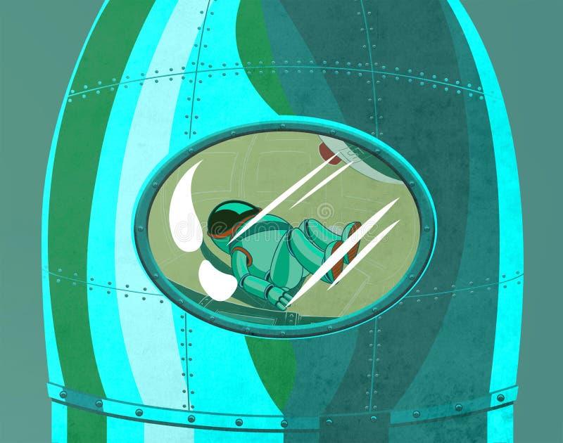 Kosmonaut i raketcockpitslutet upp royaltyfri illustrationer