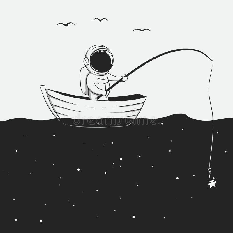 Kosmonauta łowi w astronautycznym morzu ilustracja wektor