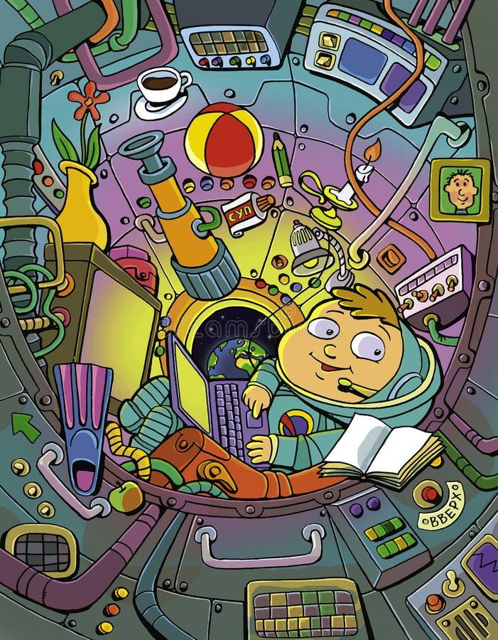 Kosmonauta w kokpicie ilustracja wektor