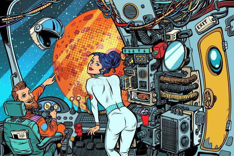 Kosmonautennavigator en kapitein controlekamer van een ruimteschip vector illustratie