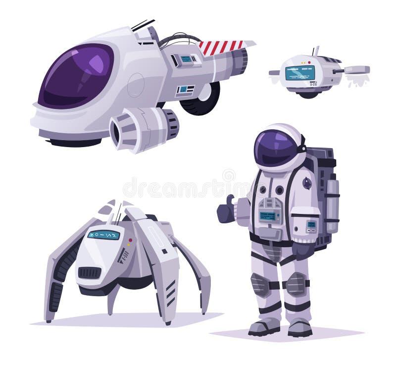 Kosmonauttecken, rymdskepp och robotar den främmande tecknad filmkatten flyr illustrationtakvektorn vektor illustrationer