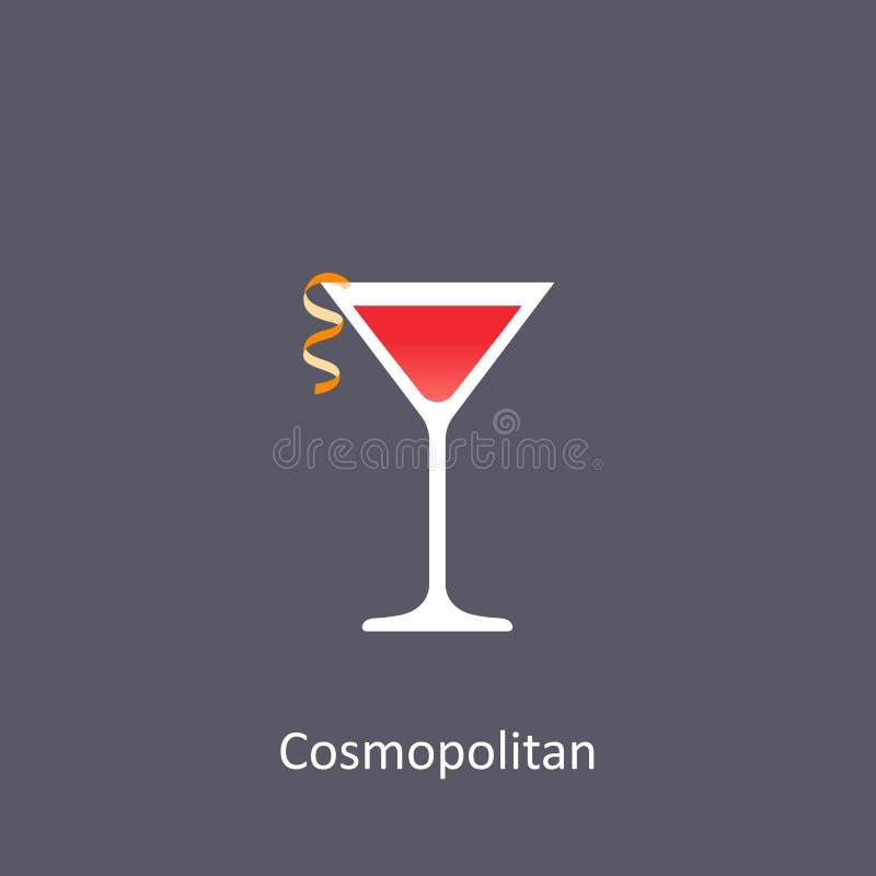 Kosmopolitisch cocktailpictogram op donkere achtergrond stock illustratie