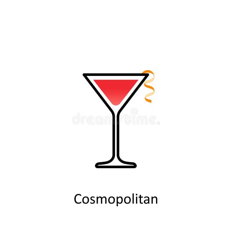 Kosmopolitisch cocktailpictogram in vlakke stijl stock illustratie