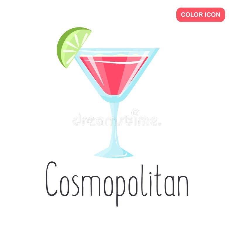 Kosmopolitisch de kleuren vlak pictogram van de alcoholcocktail royalty-vrije illustratie