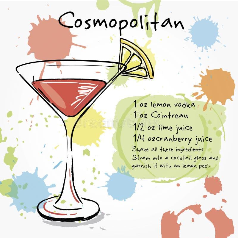 kosmopolitisch Hand getrokken illustratie van cocktail vector illustratie