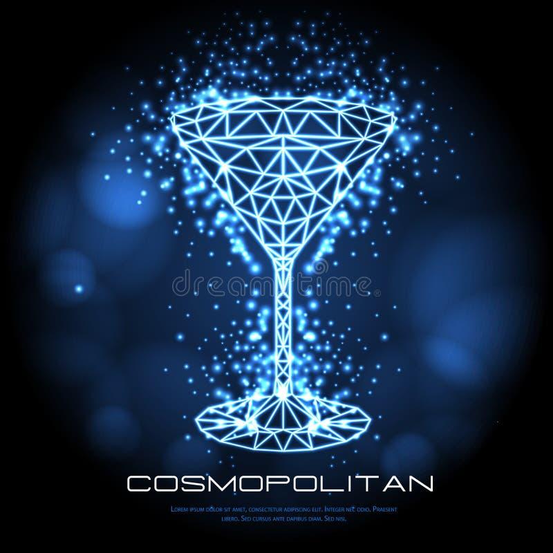 Kosmopolitisch het neonteken van de Hipster veelhoekig cocktail vector illustratie