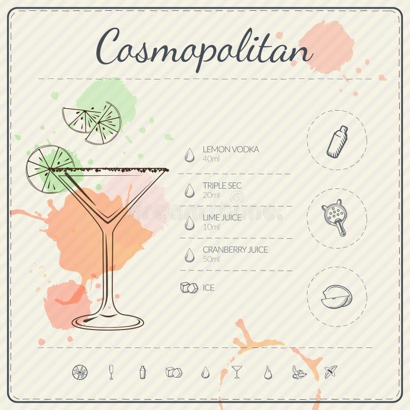 kosmopolitisch Infographic Satz des Cocktails Auch im corel abgehobenen Betrag Bunter Aquarell-Hintergrund vektor abbildung