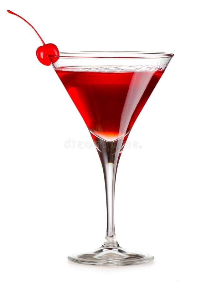 Kosmopolitische cocktail met geïsoleerde kers royalty-vrije stock afbeeldingen