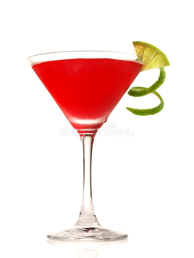 Kosmopolitische Cocktail met Kalkdraai op witte Achtergrond royalty-vrije stock fotografie
