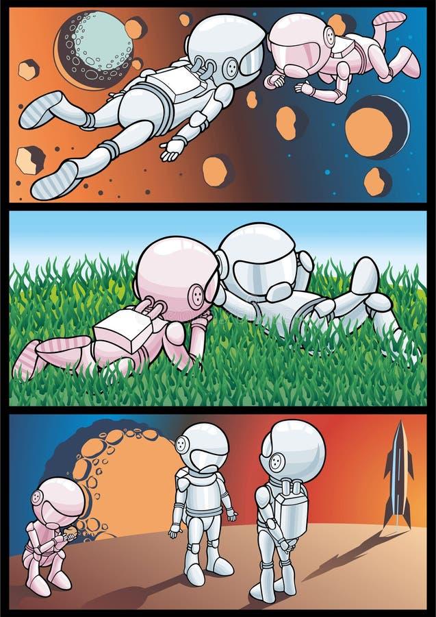 Kosmos en astronauten royalty-vrije illustratie