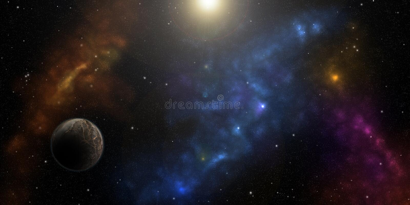 Kosmos, gwiazdy, nebulas i planety, Fantastyka naukowa tło royalty ilustracja